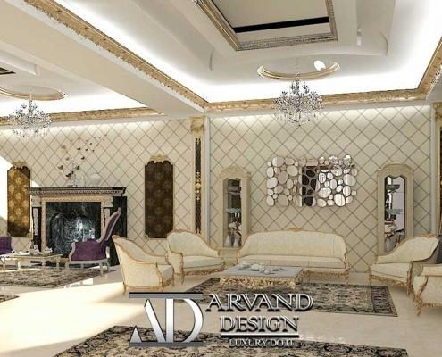 پروژه طراحی منزل آقای جعفریلک بخش سالن پذیرایی - arvanddesign.com