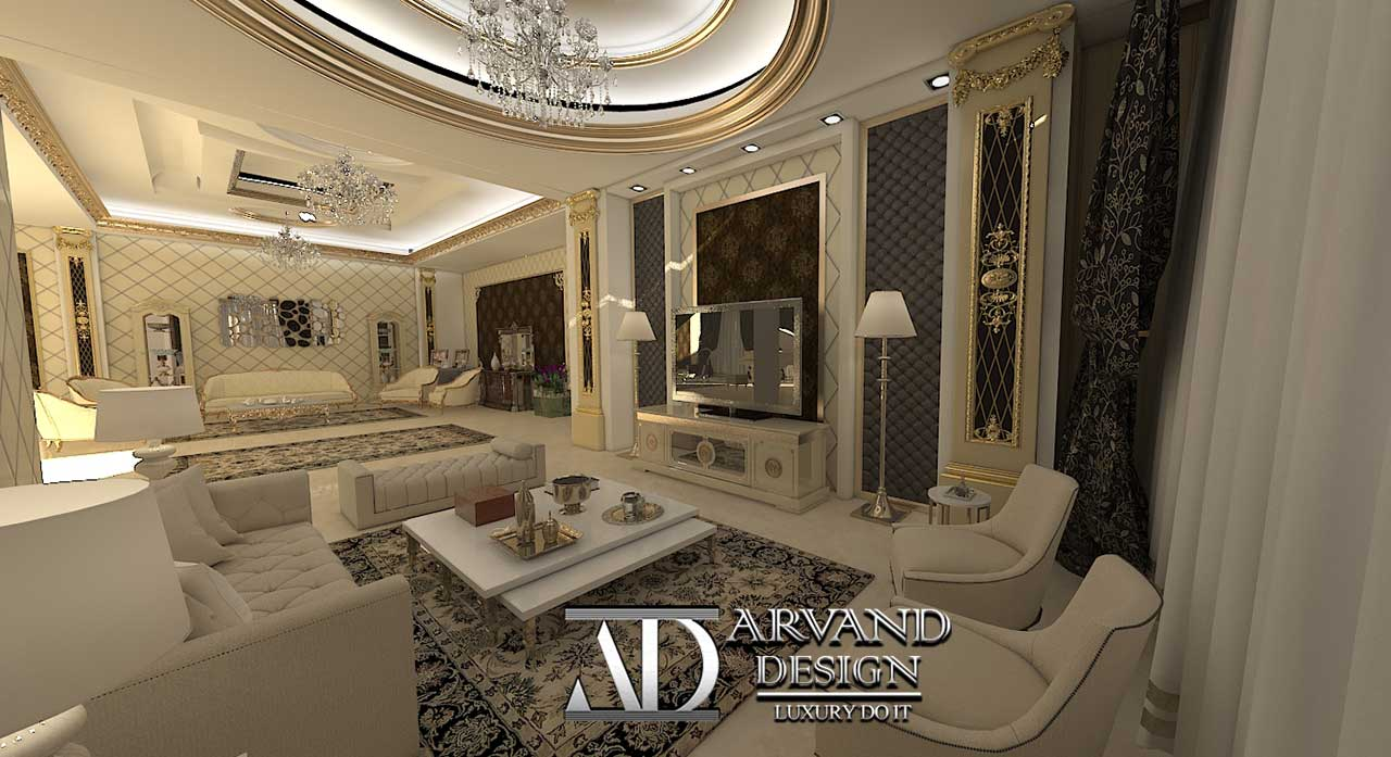 پروژه آقای جعفریلک بخش سالن پذیرایی و سالن نشیمن - arvanddesign.com