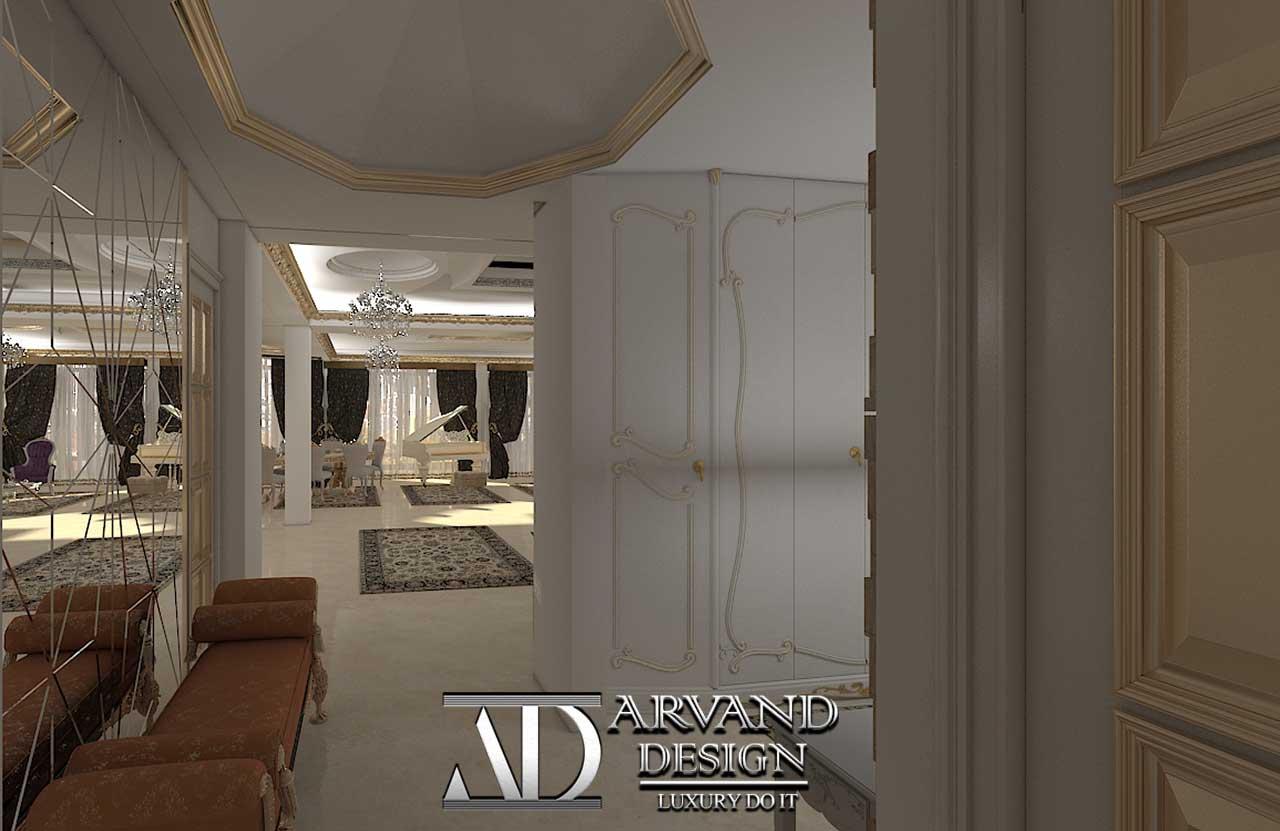 پروژه آقای جعفریلک بخش سالن پذیرایی و راهرو- arvanddesign.com