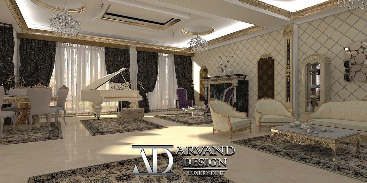 پروژه آقای جعفریلک بخش سالن پذیرایی با یک پیانو زیبا - arvanddesign.com