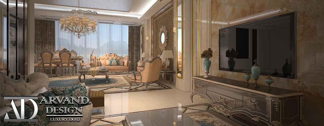 تصویری از سالن نشیمن و پذیرایی طراحی منزل آقای طنابی - arvanddesign.com