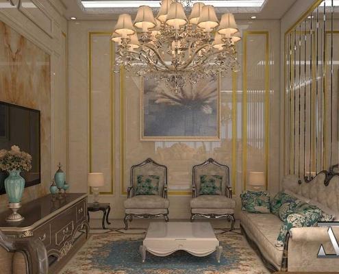 نمای دیگری از سالن نشیمن فوق العاده لاکچری به سبک کلاسیک، طراحی بینظیر توسط شرکت معماری و دکوراسیون باشکوه آروند دیزاین (ARVAND DESIGN) ازجمله نمونه کارهای معماری و دکوراسیون داخلی (ساختمان مسکونی) قسمت سالن نشیمن Interior decoration and architecture , interior design , luxury home, TV room, living room ,