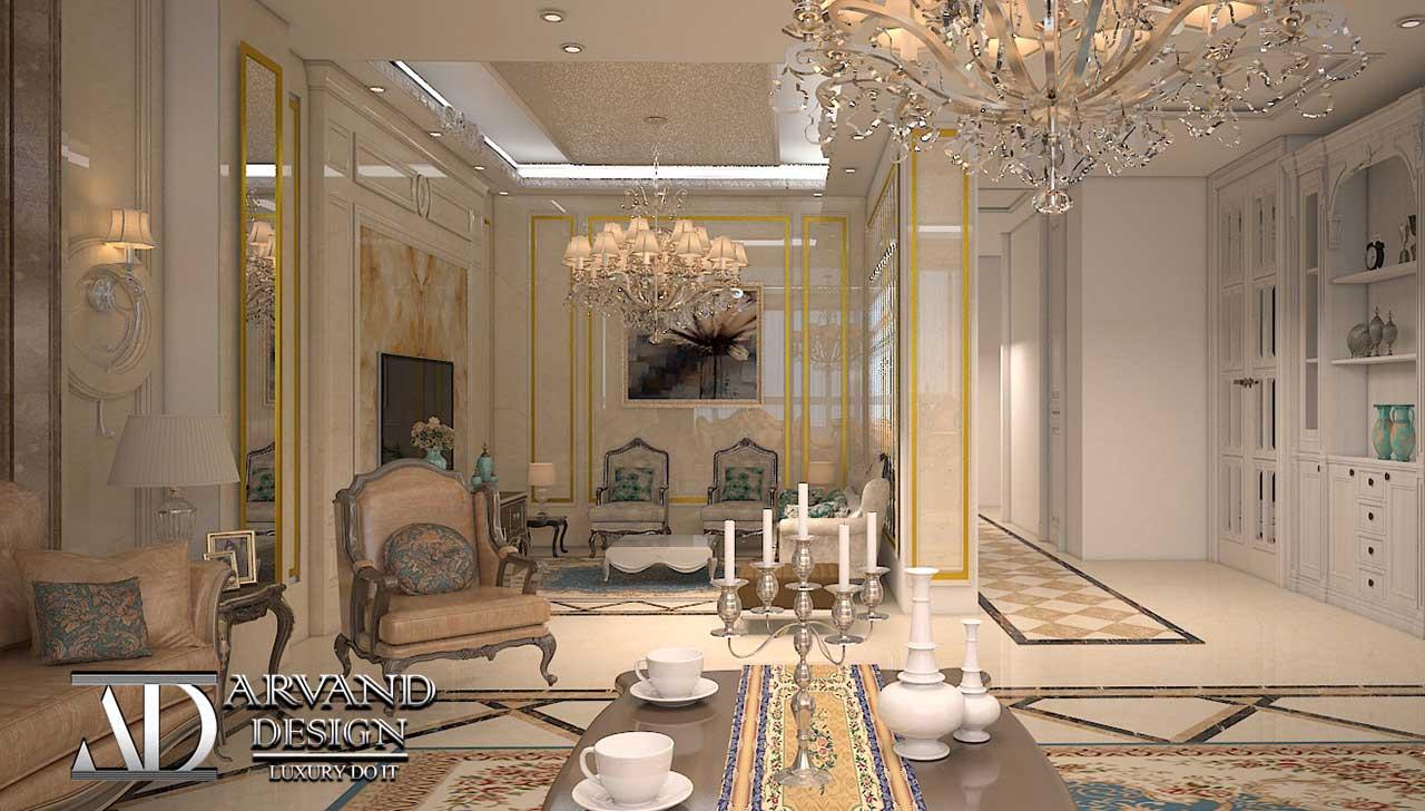 نمایی از سالن نشیمن و پذیرایی فوق العاده لاکچری به سبک کلاسیک، طراحی بینظیر توسط شرکت معماری و دکوراسیون باشکوه آروند دیزاین (ARVAND DESIGN) ازجمله نمونه کارهای معماری و دکوراسیون داخلی (ساختمان مسکونی) قسمت سالن پذیرایی و نشیمن Interior decoration and architecture , interior design , luxury home, TV room, living room , hall