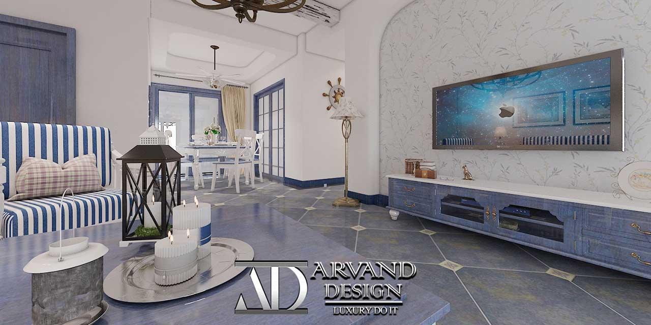سالن پذیرایی با سبک رستیک و استفاده از رنگهای سفید و آبی