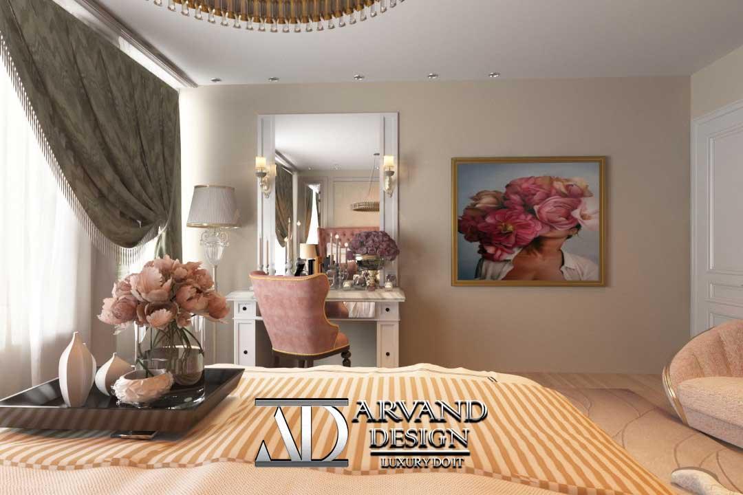 نمایی از میز لوازم آرایشی اتاق خواب ستارزاده