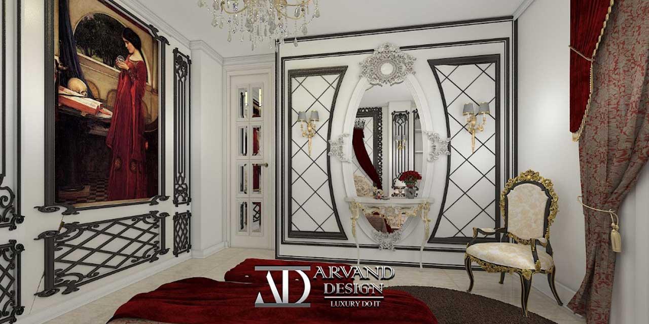 نمای ورودی اتاق خواب با درب آینه کاری شده