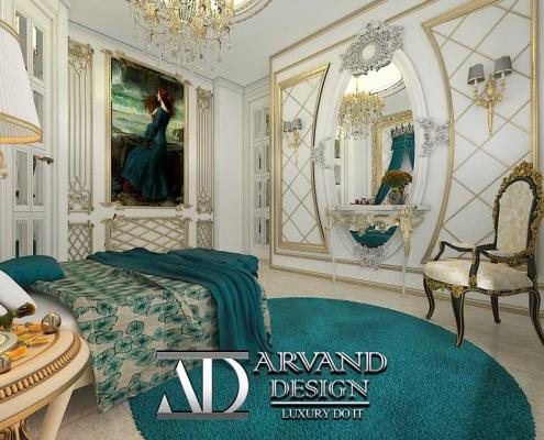نمایی از اتاق خواب آبی طنابی طراحی شده به سبک کلاسیک