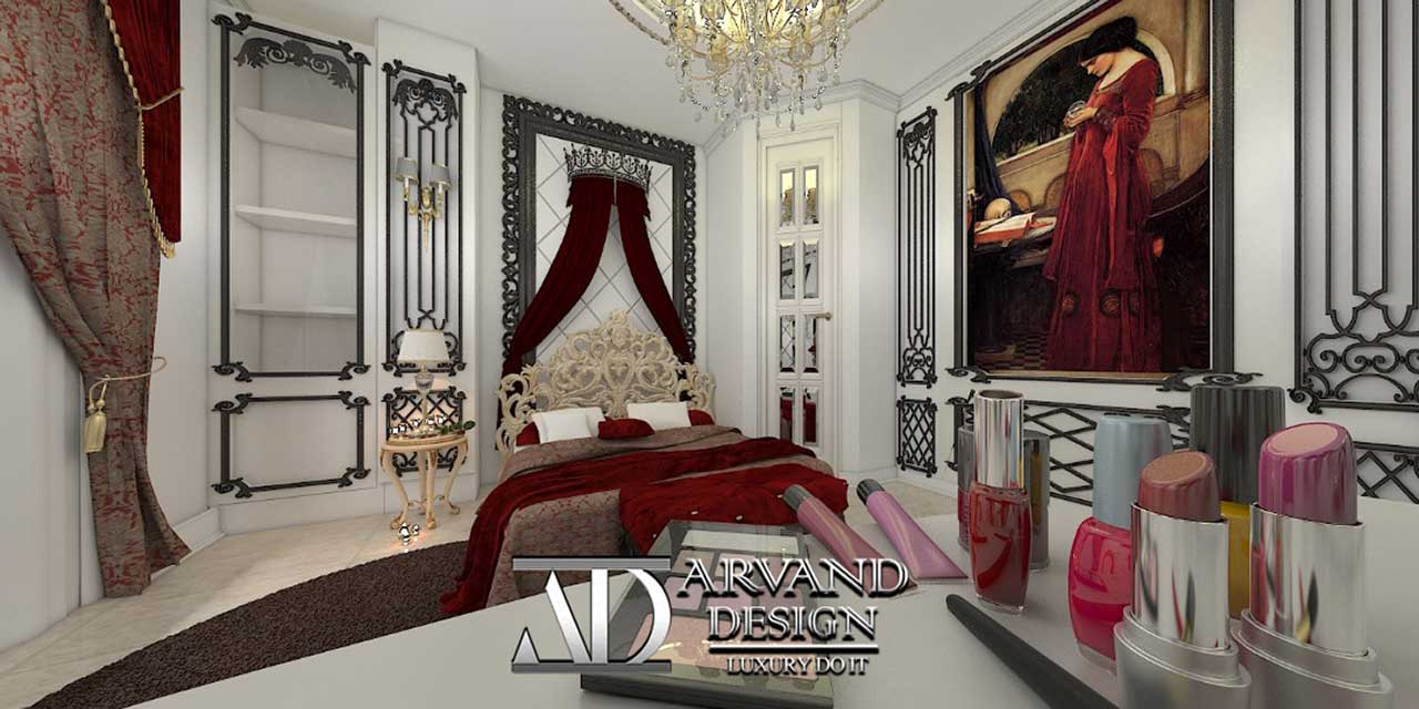 نمایی دورتر از تخت خواب و نقاشی اتاق خواب به رنگ قرمز