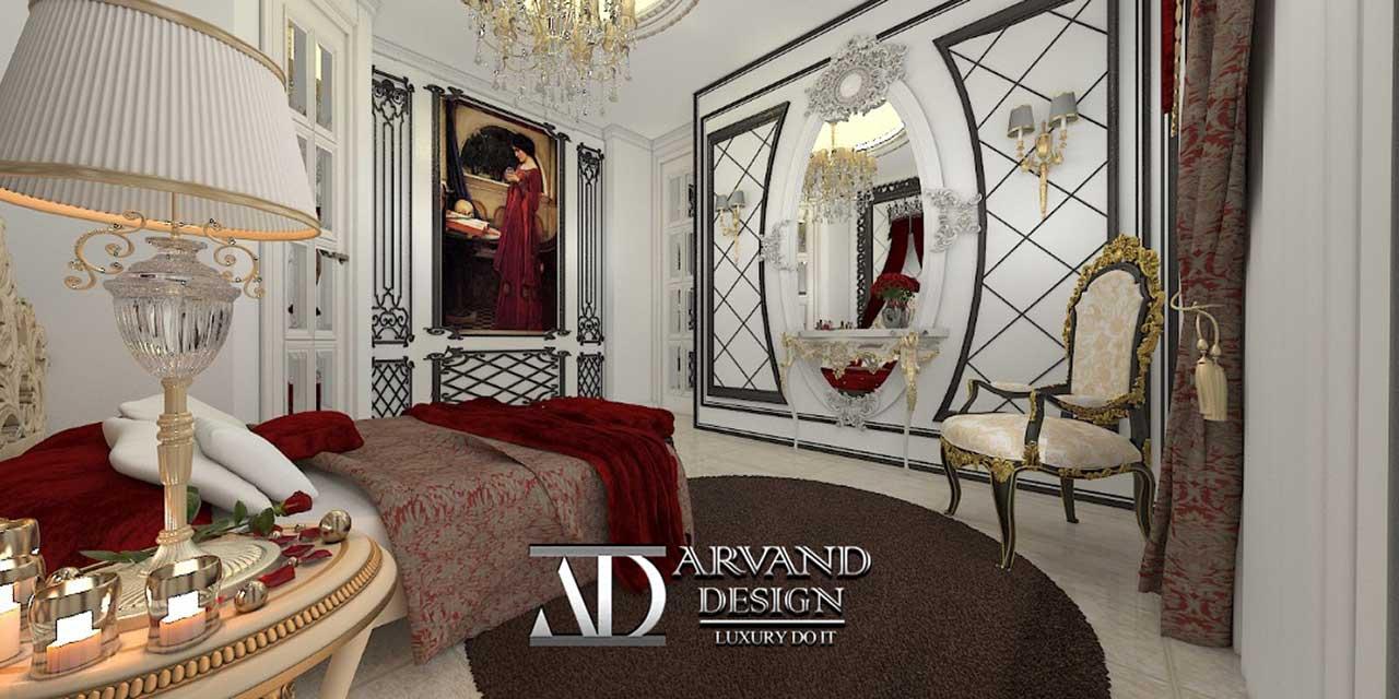 نمایی از اتاق خواب قرمز طنابی طراحی شده به سبک کلاسیک