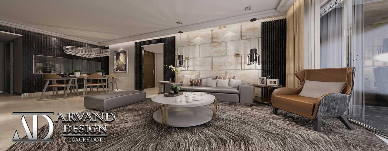 دکوراسیون داخلی سالن نشیمن و پذیرایی به سبک مدرن طراحی شده توسط آروند دیزاین
