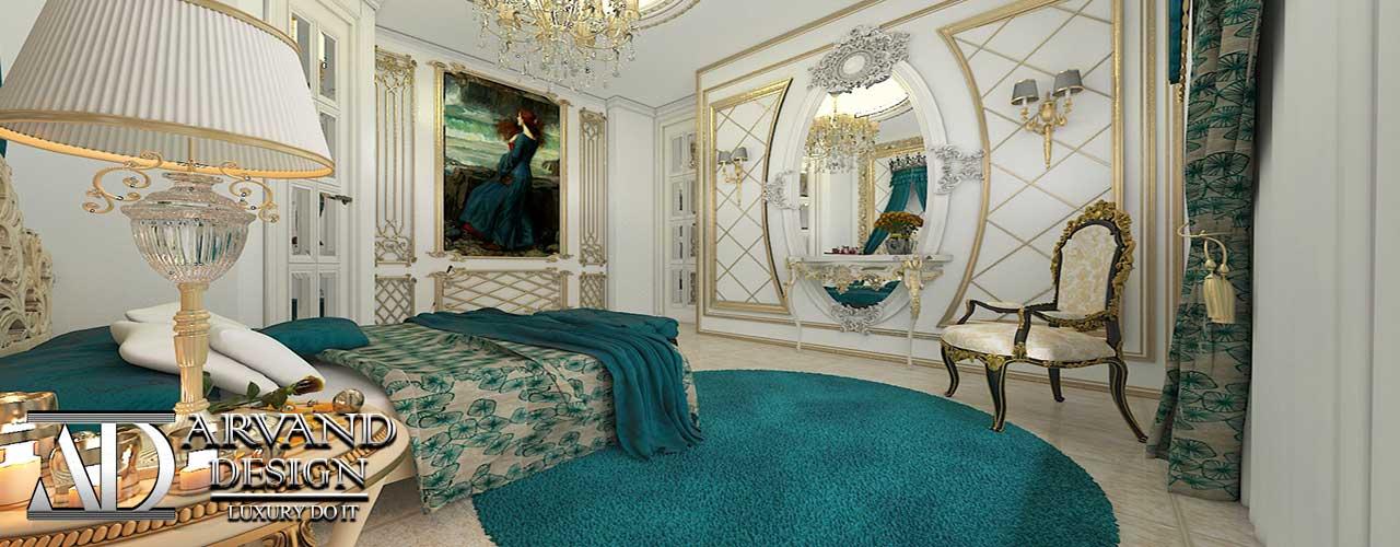 دکوراسیون داخلی اتاق خواب مستر به سبک کلاسیک طراحی شده توسط آروند دیزاین