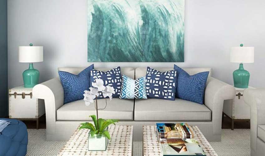 طراحی نشیمن ساحلی با رنگ برجسته آبی